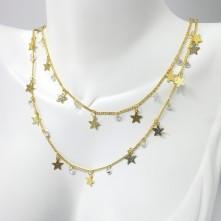 Doğal Yıldız Desenli Zincir -  Gold