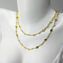 Doğal Kalp ve Boncuk Figürlü Zincir -  Gold
