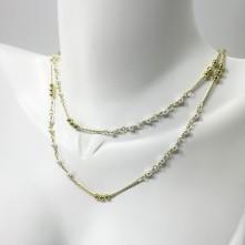 Doğal Kuyumcu Kristal Boncuklu Kolye - Beyaz