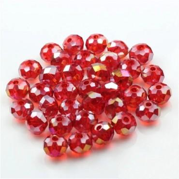 8mm  ipe dizili Kristal Boncuk - Çin Camı - janjanlı - kırmızı