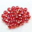 8mm - ipe dizili Kristal Boncuk - Çin Camı - janjanlı - kırmızı
