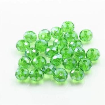 8 mm- İpe Dizili Kristal Boncuk - Çin Camı - şeffaf  yeşil