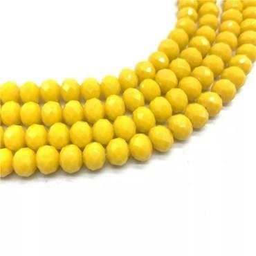 8 mm - İpe Dizili Kristal Boncuk - Çin Camı - Mat Sarı