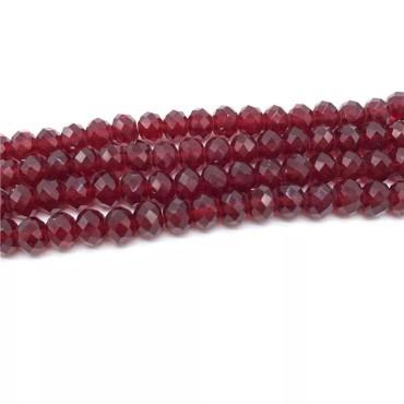 8mm - İpe Dizili Kristal Boncuk - Çin Camı - şeffaf koyu kırmızı