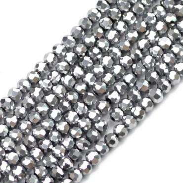 8 mm  İpe Dizili Kristal Boncuk - Çin Camı - kaplama gümüş