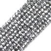8 mm - İpe Dizili Kristal Boncuk - Çin Camı - kaplama gümüş
