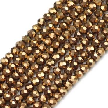 ipe dizili kristal boncuk - 8mm  kaplama janjanlı - Gold