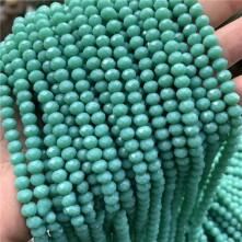 8 mm İpe Dizili kristal boncuk çin camı mat turkuaz yeşili