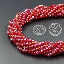 İpe Dizili Kristal Boncuk - 4 mm - janjan koyu kırmızı