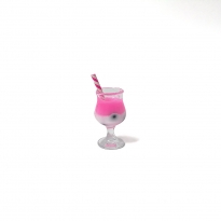 mini kokteyl bardağı - kolye ucu - koyu pembe