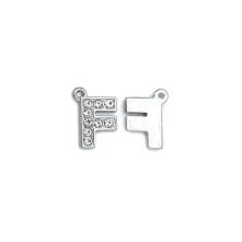Taşlı Harfler - Üstten Kulplu Gümüş - F