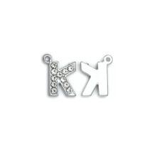 Taşlı Harfler - Üstten Kulplu Gümüş - K