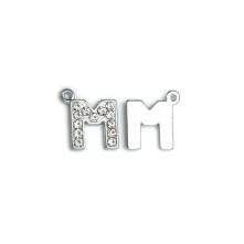 Taşlı Harfler - Üstten Kulplu Gümüş - M