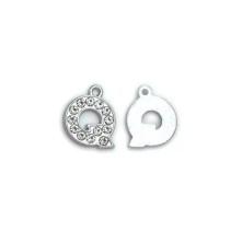 Taşlı Harfler - Üstten Kulplu Gümüş - Q