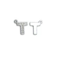 Taşlı Harfler - Üstten Kulplu Gümüş - T