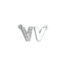 Taşlı Harfler - Üstten Kulplu Gümüş - V
