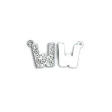 Taşlı Harfler - Üstten Kulplu Gümüş - W
