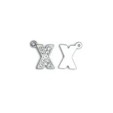 Taşlı Harfler - Üstten Kulplu Gümüş - X
