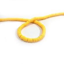 Fimo Hamur Silindir Bileklik Takı Boncuğu - Koyu Sarı