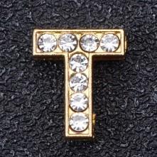Taşlı Harfler - Kulpsuz  Gold  - T
