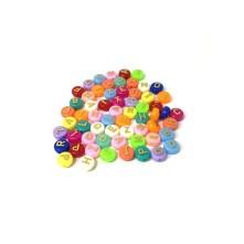 Plastik Boncuk - Renkli Harf Boncuk - 9.5mm