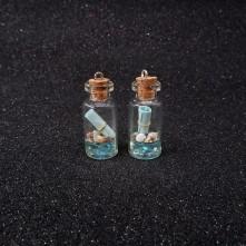 Potkal - Mantar Tıpalı Şişe Kolye Ucu - Mavi - 2x1 cm