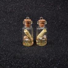 Potkal - Mantar Tıpalı Şişe Kolye Ucu - Sarı - 2x1 cm