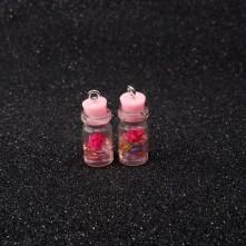 Mantar Tıpalı Şişe Kolye Ucu - Pembe Çiçek - 2x1 cm