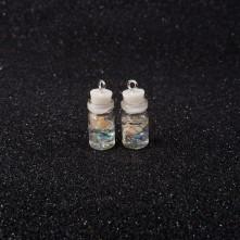 Mantar Tıpalı Şişe Kolye Ucu - Beyaz Çiçek - 2x1 cm