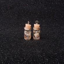 Mantar Tıpalı Şişe Kolye Ucu - Sarı Çiçek - 2x1 cm