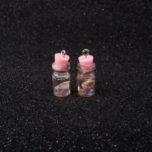 Mantar Tıpalı Şişe Kolye Ucu - Açık Pembe Çiçek - 2x1 cm