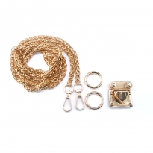 Örme Çanta Zinciri Seti - 1 adet - Gold - 6 mm