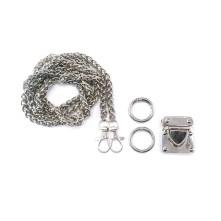 Örme Çanta Zinciri Seti Gümüş - 1 adet - 6 mm